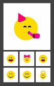 Icon Flat Emoji Set Of Smile, Cheerful, Joy And Other Vector Objects. Also Includes Smile, Face, Joy poster