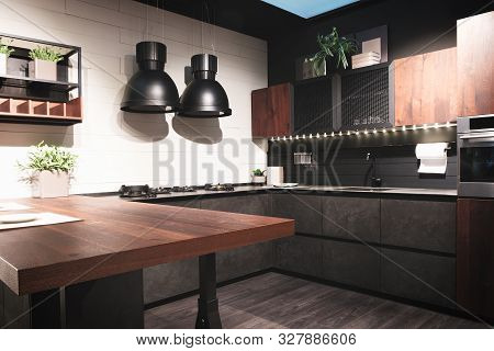 poster of Kitchen Interior, Modern Kitchen With A Luxury Mixer, Breakfast Concept, Kitchen Background, Concept