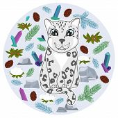 Cute Snow Leopard Kitten With Spruce Branches, Crystals, Stones, Cones, Snow Covered Bush On Gray Ba poster