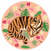 Cute Tiger Kitten With Abstract Tropical Flowers, Leaves And Plants On Beige Background, Cartoon Dra poster