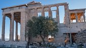 Ruins Of The Porch Of The Caryatids In The Erechtheion An Ancient Greek Temple At Acropolis Of Athen poster