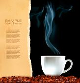 Background with cup of coffee and old ripped paper. Vector