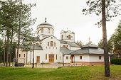 Church Of Holy Transfiguration Among Pine Trees On Beautiful Zlatibor Mountain In Serbia poster