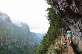 Tourists Hiking On A Narrow Path On The Edge Of The Rock During Levada Do Caldeirao Verde Trail. Roc poster