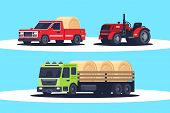 Flat Agricultural Machinery With Stack Of Hay For Harvesting, Crop Delivery And Pickup Truck For Fre poster