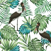 Realistic Tropical Plants And Beautiful Exotic Birds Seamless Vector Wallpaper. Leaves Repeat Patter poster
