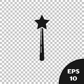 Black Magic Wand Icon Isolated On Transparent Background. Star Shape Magic Accessory. Magical Power. poster