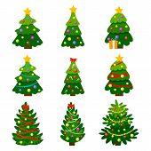 Different Christmas Tree Set, Vector Illustration. Can Be Used For Greeting Card, Invitation, Banner poster