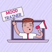 Word Writing Text Mood Trainer. Business Concept For A Demonstrating Who Trains To Alleviate Mood Di poster
