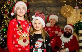 Cute Sisters And Parents Celebrate Christmas At Home. Family Spread Love And Happiness. Adorable Fam poster