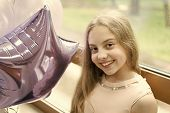 My Birthday Time Has Come. Happy Cute Little Girl Celebrating Birthday With Air Balloons. Adorable S poster