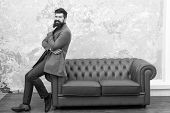 Beardoholic. Fashionable Businessman Or Manager. Boss With Fashionable Beard And Trendy Hairstyle. B poster