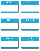 Foreign Language Hello Sticker In European