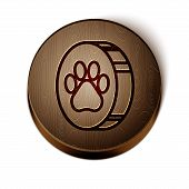 Brown Line Paw Print Icon Isolated On White Background. Dog Or Cat Paw Print. Animal Track. Wooden C poster