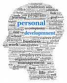 image of self assessment  - Personal development in tag cloud of human head shape on white - JPG