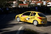 Castelo Branco, Portugal - March 10: Diogo Gago Drives A Peugeot 206 Gti During Rally Castelo Branco