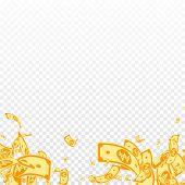 Korean Won Notes Falling. Messy Won Bills On Transparent Background. Korea Money. Cute Vector Illust poster