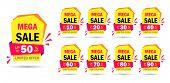 Discount Mega Sale Offer Tag 50, 20, 10, 40, 30, 60, 70, 80, 90 Percent.set Banner Super Offer Emble poster