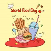 World Food Day. Flat Design Fast Food Concept Vector Illustration.  Food Icon Trendy And Modern Food poster