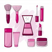 Illustration Of Cosmetics And Makeup Icons For Facial Skin Care To Look Beautiful And Fresh. Cosmeti poster