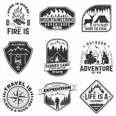 Set Of Outdoor Adventure Quotes Symbol. Vector. Concept For Shirt Or Logo, Print, Stamp. Vintage Des poster
