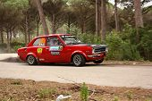 Marinha Grande, Portugal - April 14: Carlos Neves Drives A Datsun 1200 During Rally Vidreiro 2012, I