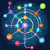 Постер, плакат: Современные социальные медиа абстрактные схемы