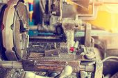 Pipe Making By The Threading Machine. The Lathe Machine Or Turning Machine Cutting The Thread At The poster