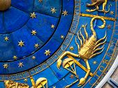 Scorpio Astrological Sign On Ancient Clock. Detail Of Zodiac Wheel With Scorpion. Golden Horoscope I poster