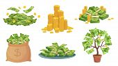 Cartoon Cash. Green Dollar Banknotes Pile, Rich Gold Coins And Pay. Cash Bag, Tray With Stacks Of Bi poster