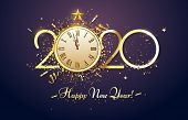 Happy 2020 New Year. Party Countdown Clock With Golden Sparks Confetti, Gold Year Number And Watch F poster