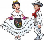 Mexican couple dancing. Vector illustration with simple gradients. Each in a separate layer for easy