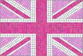 Pink Union Jack. Vintage mosaic style. Also available in vector format.