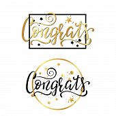 Congrats. Congratulations Card. Hand Lettering. Handwritten Phrase. poster
