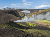 Landmannalaugar Colorful Rhyolit Mountains With Steam From Hot Spring On Famous Laugavegur Trek. Fja poster