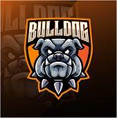 Bulldog Head Esport Mascot Logo With Text poster