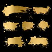 Gold Grunge Background. Black Texture On Golden Foil Paper For Luxury Glamour Premium Card Vector Tr poster