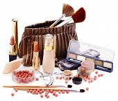 Decorative cosmetics in bag . Isolated.