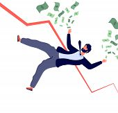 Financial Crisis Concept. Businessman Falling Down With Financial Chart And Losing Money. Bankruptcy poster