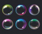 Soap Bubbles. Liquid Macro Water Bubble Vector Collection. Bubble Soap, Air Transparent Multicolored poster