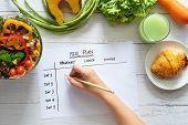 Calories Control, Meal Plan, Food Diet And Weight Loss Concept. Top View Of Hand Filling Meal Plan O poster