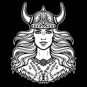 Animation Portrait Of The Beautiful Young Woman Valkyrie. Pagan Goddess, Mythical Character. White V poster