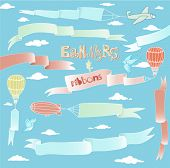 Doodle Banners and Ribbons - Set of silky hand drawn banners and ribbons carried by the planes, hot