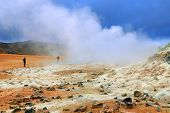 Geothermal region of Hverir in Iceland near Myvatn Lake, Iceland, Europe  poster
