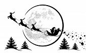 Santa Claus In Sleigh And Reindeer Sled On Background Of Full Moon. Santa Claus Flying  And Gives Gi poster
