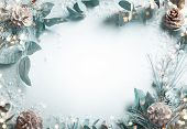 Christmas and New Year holidays concept with snowy fir branches and pine cone on light background. C poster