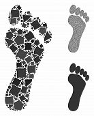 Footprint Mosaic Of Joggly Items In Various Sizes And Color Tones, Based On Footprint Icon. Vector J poster