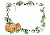 Frame With Pumpkins And Leaves