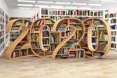2020 new year education concept. Bookshelves with books in the form of text 2020 in school library.  poster