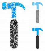 Claw Hammer Mosaic Of Joggly Pieces In Variable Sizes And Color Tints, Based On Claw Hammer Icon. Ve poster